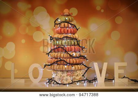 Pyramid Of Macaroons With Christmas Lights