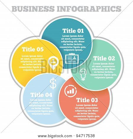 Business circle infographic, diagram, presentation four steps