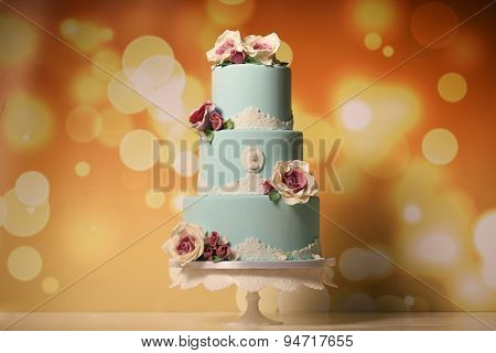 Blue Marzipan Cake With Roses