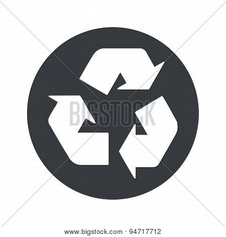 Monochrome round recycle icon