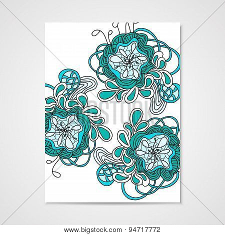 Hand-drawn pattern with abstract flowers.
