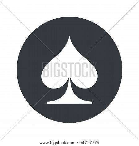 Monochrome round spades icon