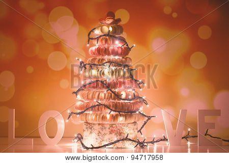Pyramid Of Macaroons And Christmas Lights