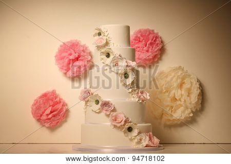 5Tier Wedding Cake With Flowers