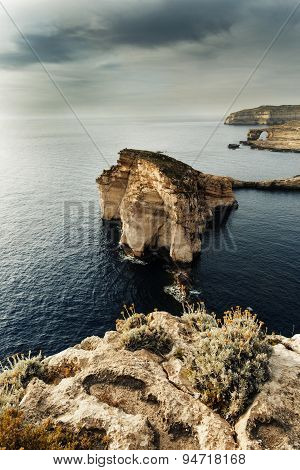Panoramic View Of The Azure Window And Fungus Rock On The Island Gozo, Malta.