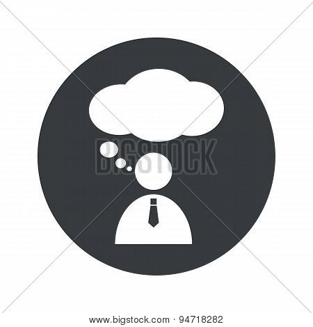 Monochrome round thinking person icon