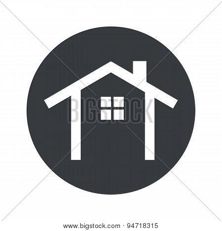 Monochrome round cottage icon
