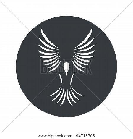 Monochrome round bird icon
