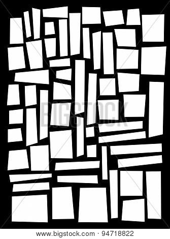 Irregular Square And Rectangle Shapes In White Over Black