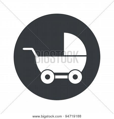 Monochrome round pram icon