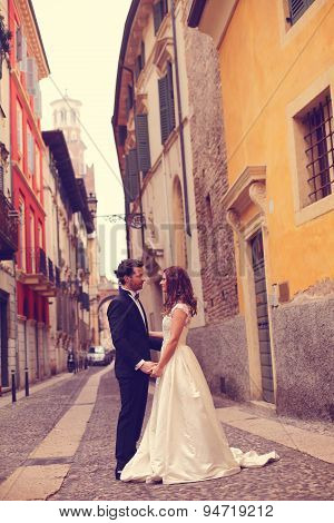 Bride And Groom On Street