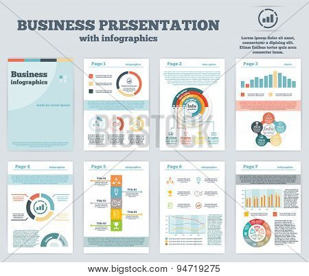 Big set of infographics elements in modern flat business style.