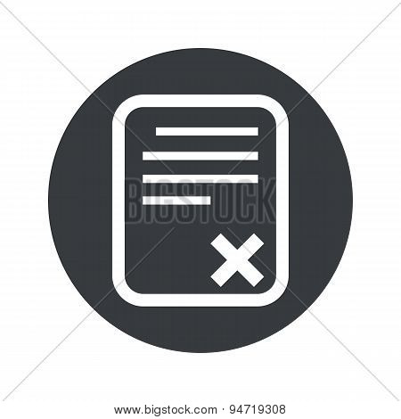Monochrome round declined document icon