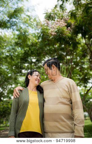 Hugging mature couple