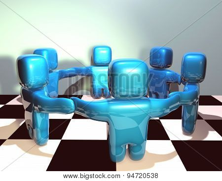 Teamwork Abstract 3D Concept Illustration With Chessboard