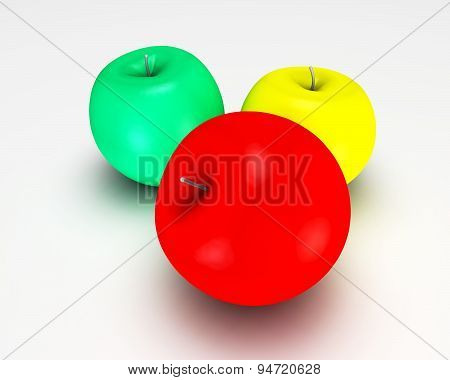 3D Colorful Red, Green And Yellow Abstract Apples