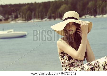 Summer Girl With Hat Near Lake.vintage Color