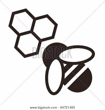 Bee And Honeycombs Icon