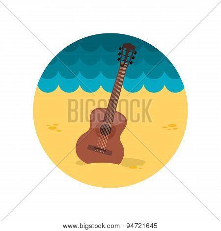 Guitar Beach Flat Icon