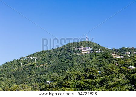 Green Hill On St Thomas With Cable Car
