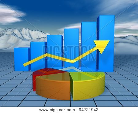 Beautiful Financial 3D Background With Colorful Charts