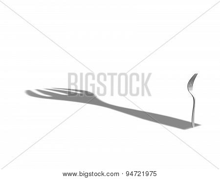 Anorexia, Bulimia, Diet Concept With 3D Fork And Big Shadow
