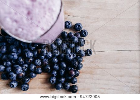 Blueberry Smoothie Fresh Blended With Blueberries On Summer Wood Table Top View