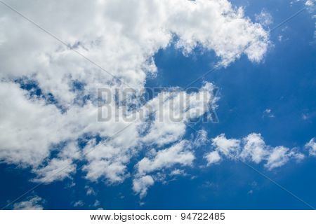 Deep Blue Sky And Clouds With Beams Through Clouds And Fair