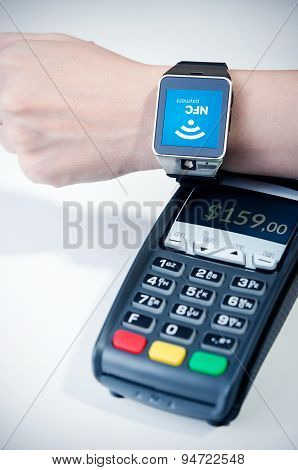 Man Using Smart Watch With Nfc Chip. Fast Contactless Payment