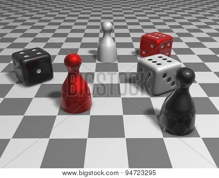 Game 3D Abstract Concept Illustration With Checkers