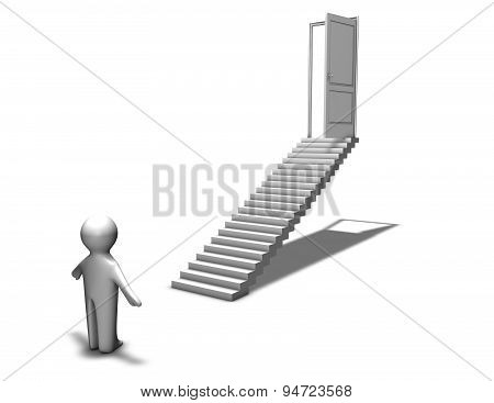 First Step To Career, Abstraction With 3D Man And Stairs, Decision, Challenge