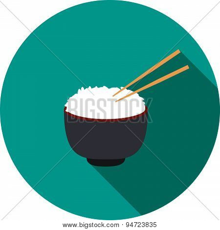 Bowl Of Rice With Pair Of Chopsticks