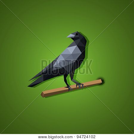 Black Raven Bird Vector In Low Polygon Art