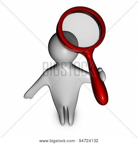 3D Man Searching Informations With Magnifying Glass