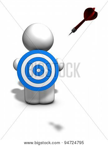 3D Person With Darts Shield, Goal Concept Illustration Isolated