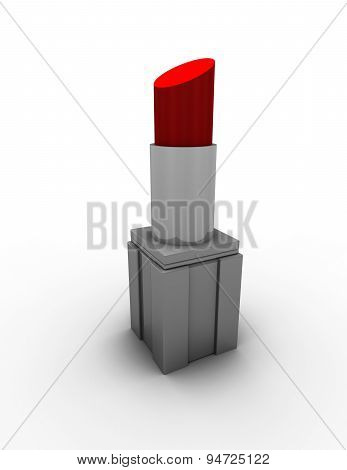 Red Lipstick Isolated On White Background Illustration