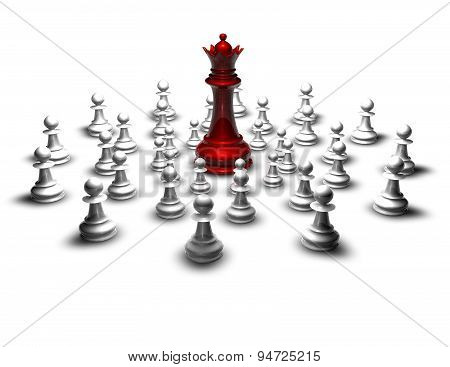 Fight, War Concept With Red Chess Queen And Pawns