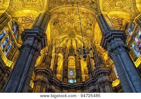 Interiors of Cathedral in Malaga, Andalusia