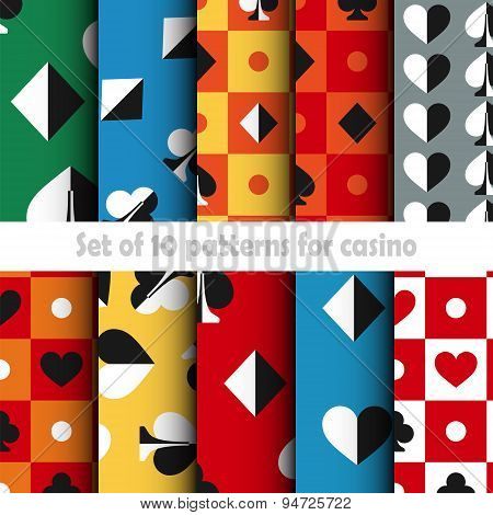 Set of ten card game vector seamless patterns.
