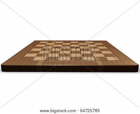 Empty Wood Chessboard Isolated Illustration Front View