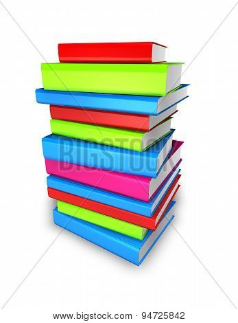 Colorful Books Pile Isolated Illustration