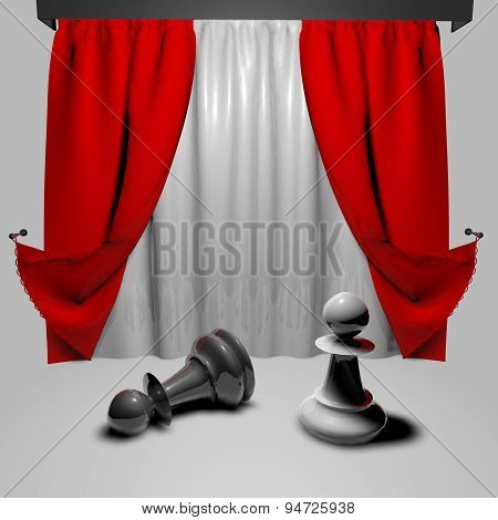 Chess Fight Business Concept With Pawns On Stage