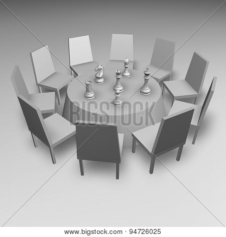 Business Meeting Concept Illustration With Table And Chess