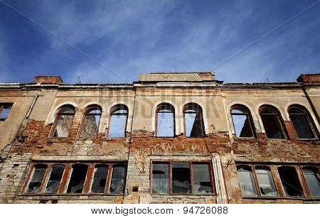 Facade Of Old Destroyed House