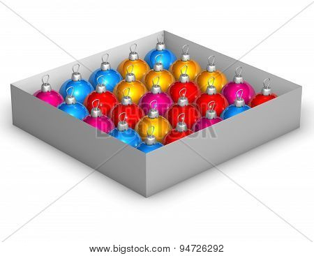 Colorful Christmas Baubles In The Box Illustration
