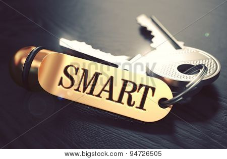 Smart - Bunch of Keys with Text on Golden Keychain.