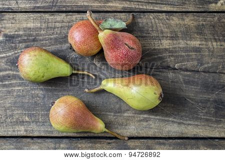 Pears On Dark Wooden Table