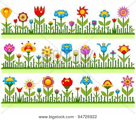 Floral borders with abstract flowers vector illustration