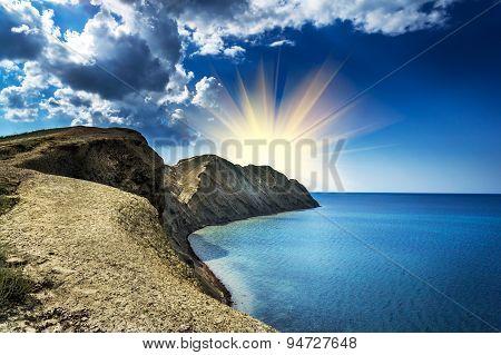 Wonderful Bay, Mountains And Majestic Sun.