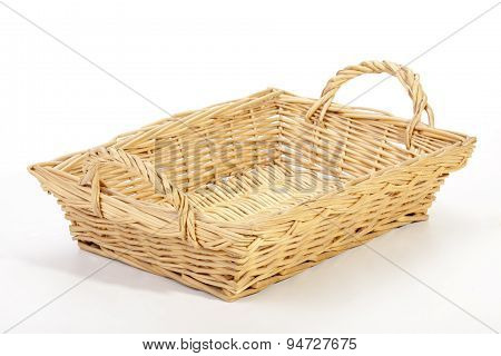 Studio Shot Rectangular Wicker Woven Basket On White